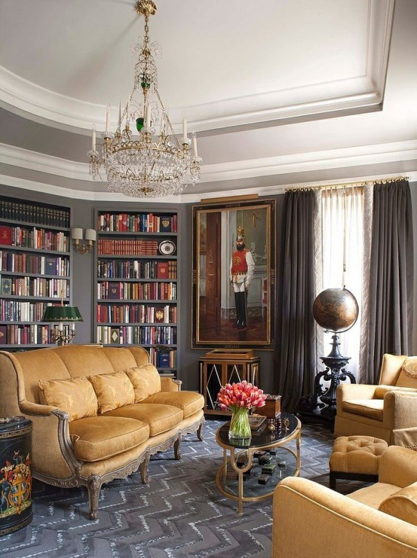 Space saving book shelves and reading rooms for Federal style interior decorating