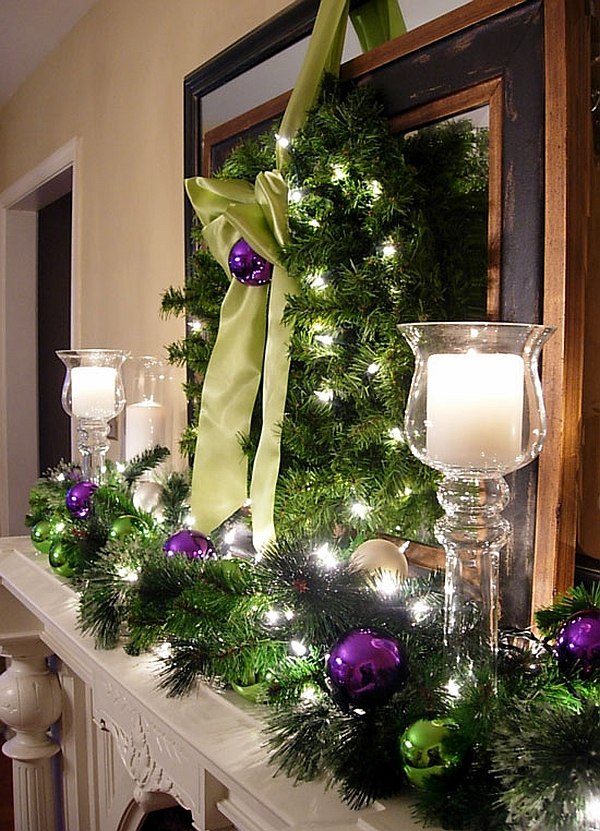 hint of purple adds enlivens your christmas decorations - Christmas Mantel Decor