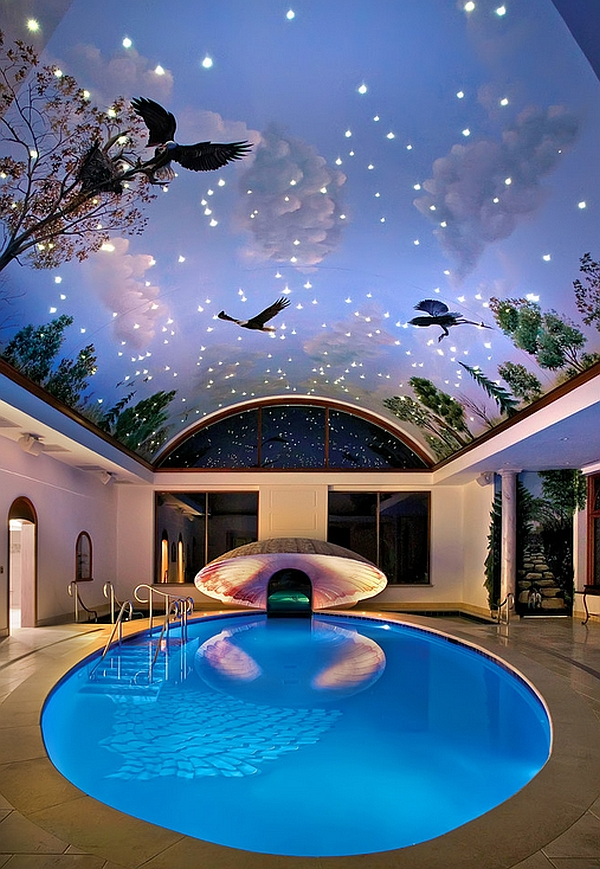 view in gallery imaginative painted ceiling and pool for those who love a bit of drama - Cool Indoor Swimming Pools