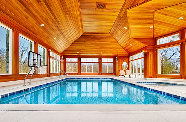 Diving Board Indoor Pool Offers Lovely Views Of The Scenic Landscape Outside