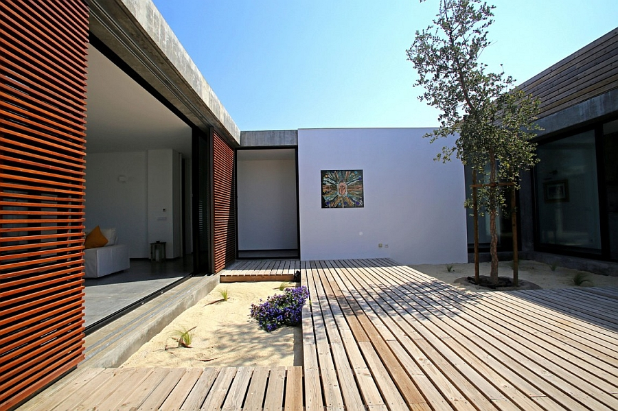 Interior courtyard complements the stylish villa