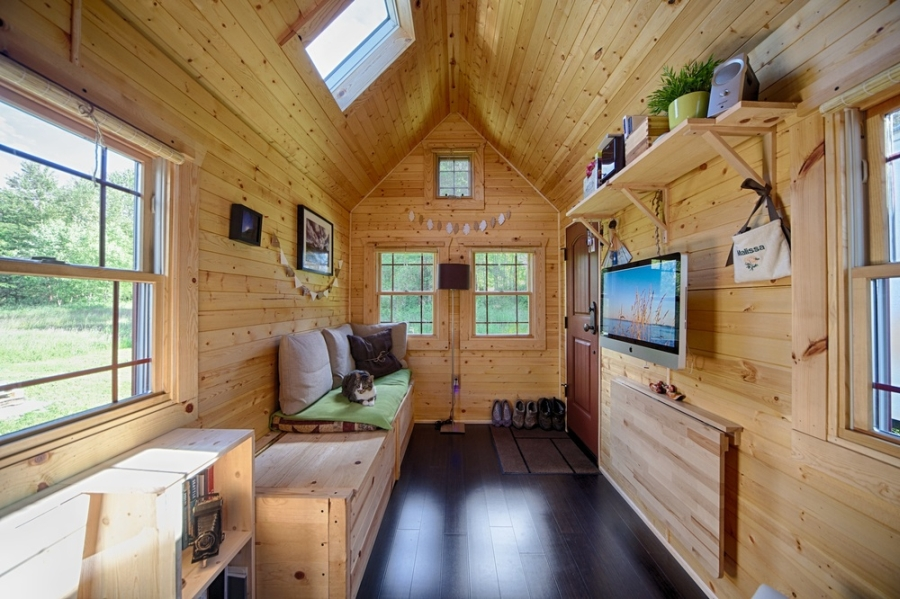 Mobile tiny tack house is entirely built by hand and for A d interior decoration contractor