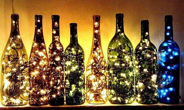Just combine a few old wine bottles with string lights!