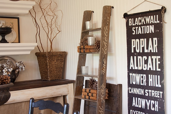 Ladder display with a rustic and organic appeal