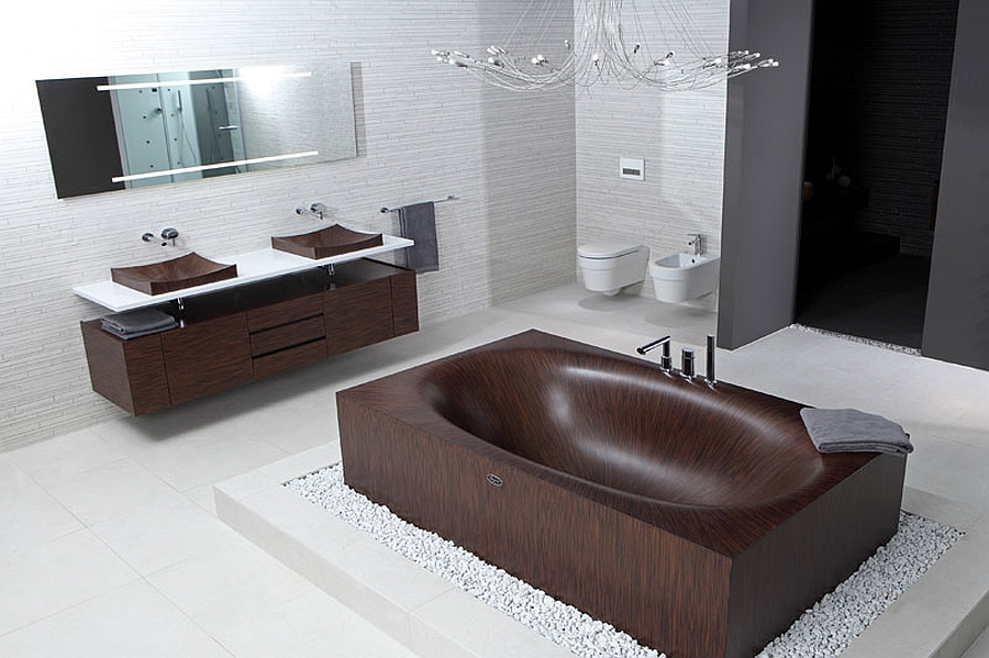 Laguna range of wooden bathtubs from Alegna Luxurious And Dramatic Wooden Bathtubs Make A Bold Visual Statement