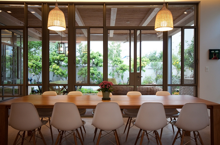 Large glass windows offer visual connectivity with the backyard