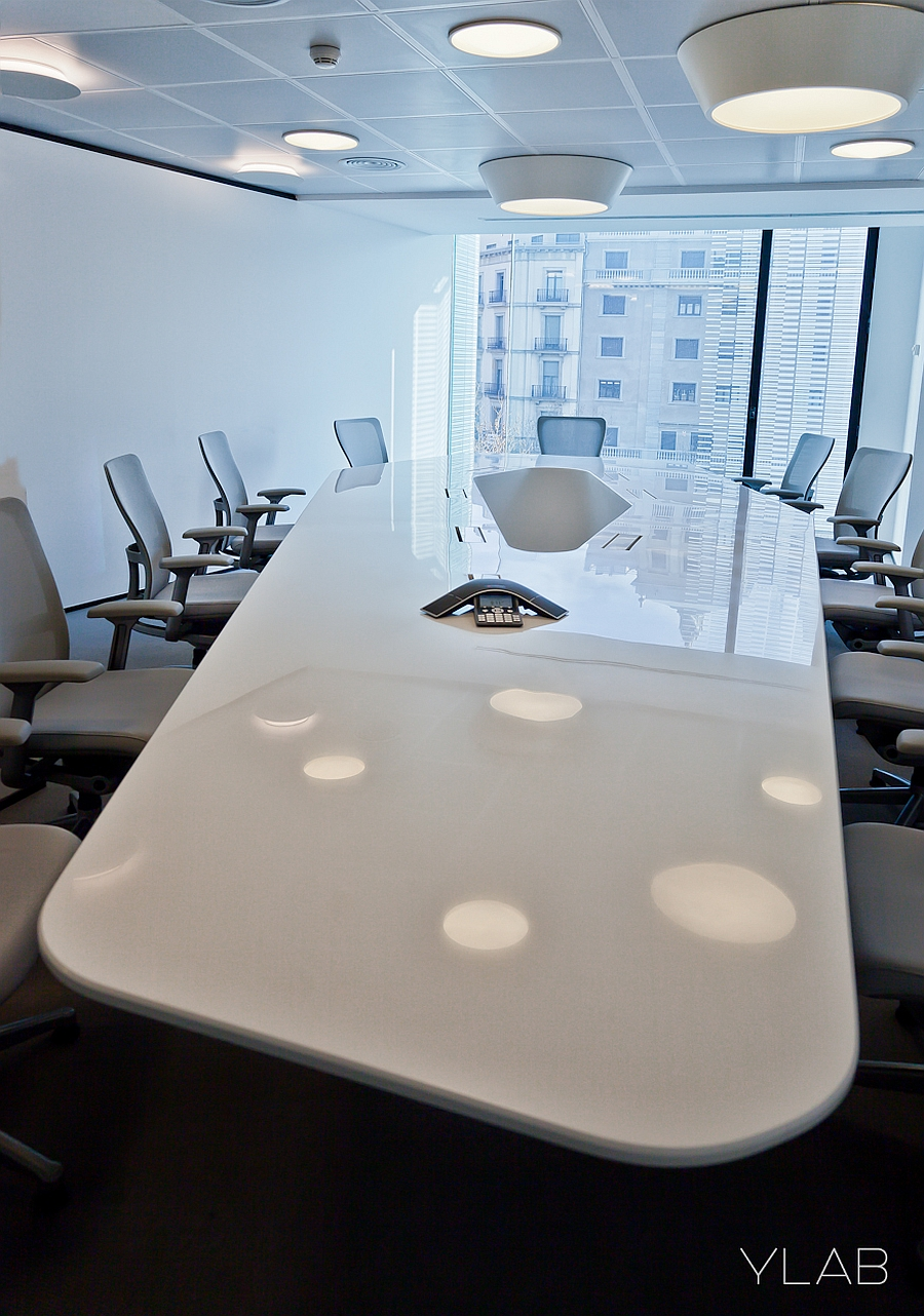 Large white table in the conference room