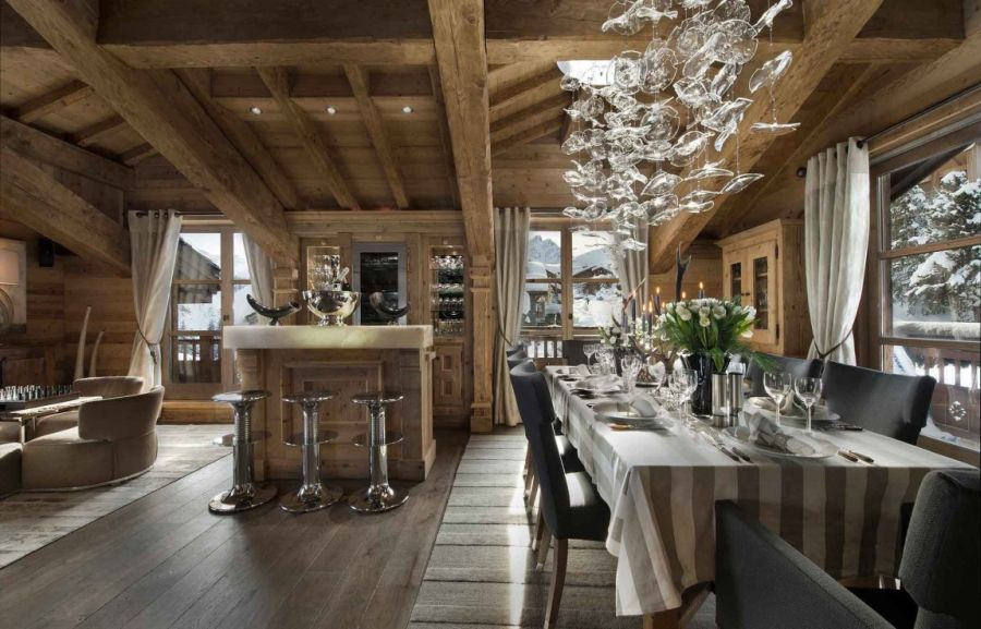 Lavish home bar and dining area at the French Chalet