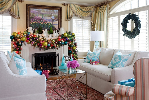 Let the mantel decorations reflect your home's color scheme