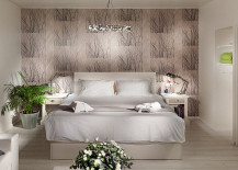 Light-filled fixture over the bed
