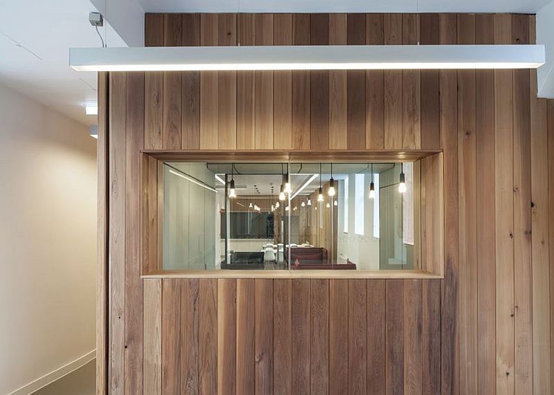 Lighting and wooden walls inside Arts Council England building