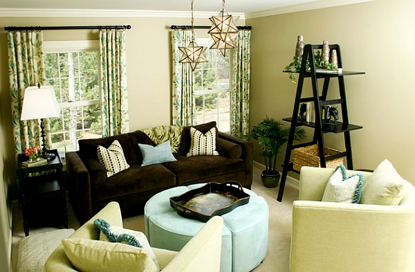 Lovely drapes and gorgeous ladder shelves create a gorgeous setting