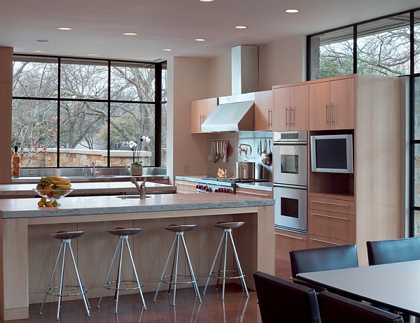 Lovely modern kitchen with smart seating options