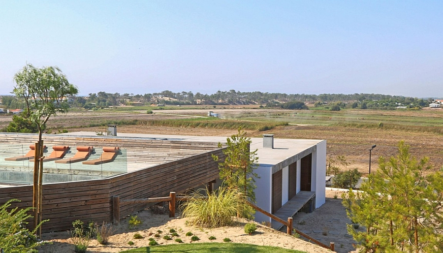 Lush green surroundings of modern villa in Portugal