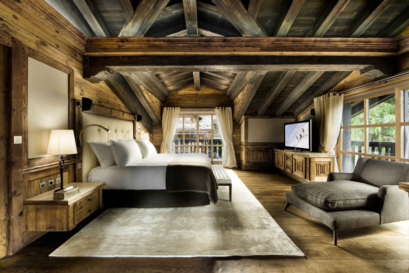 Luxurious bedroom inside the opulent Chalet Edelweiss