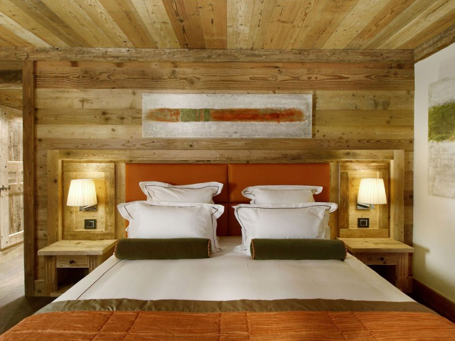 Luxurious bedroom inside the skiing resort at Courchevel