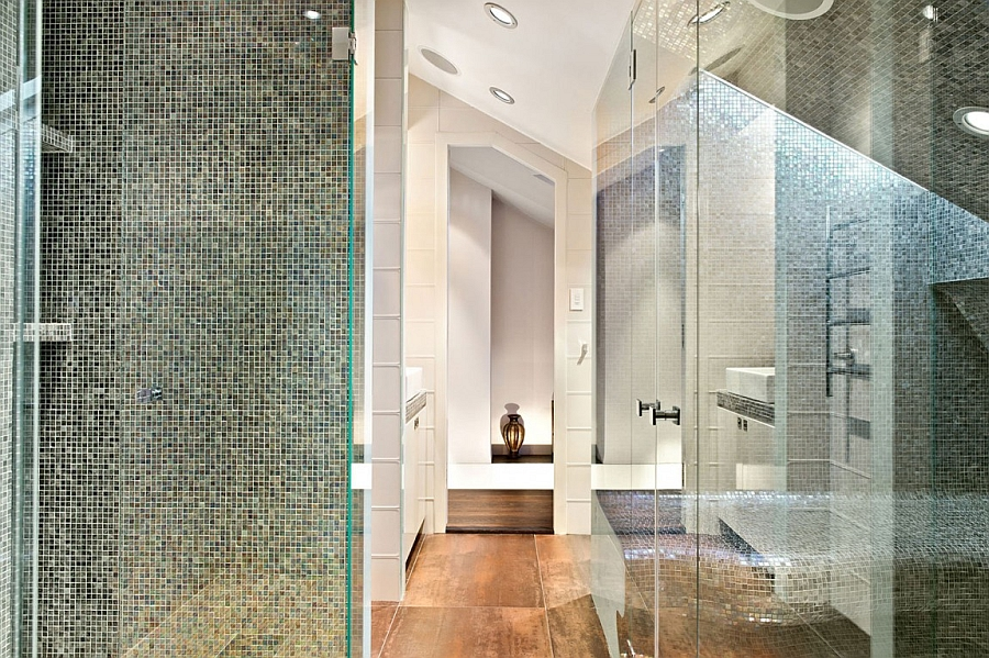 Luxurious shower area and bath