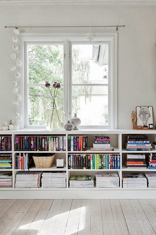 bookshelves space saving under window