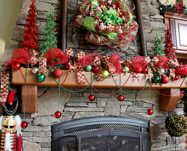 Mardi Gras beads and ornaments engulf the fireplace mantel