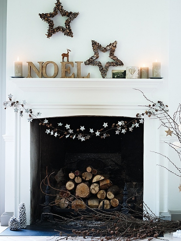 Minimalist Christmas decor idea for fireplace mantel