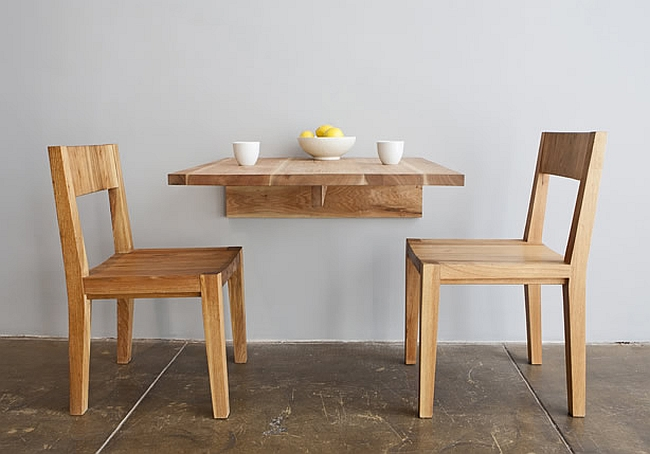 Minimalist wooden decor offers organic small space solutions for Dining table options for small spaces