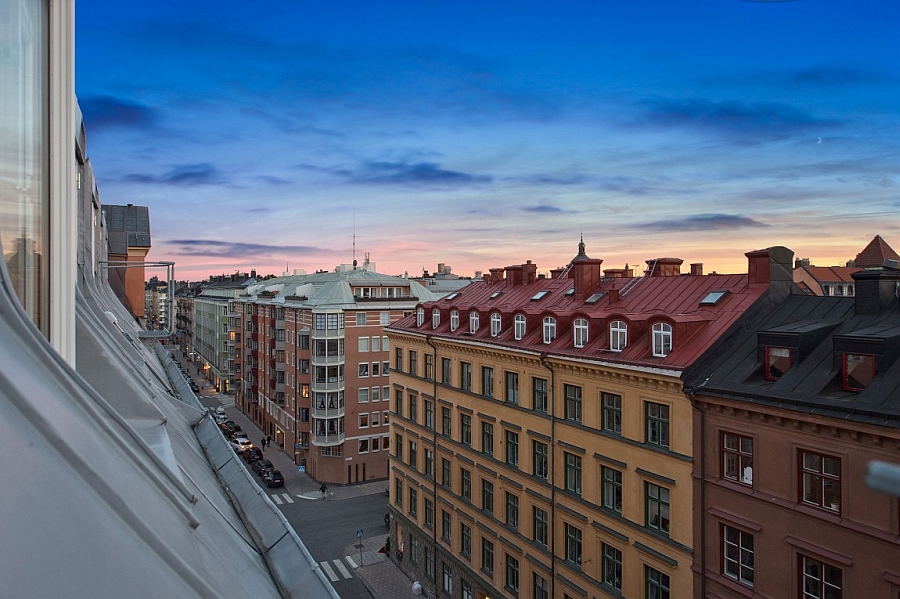 Modern apartment with views of Stockholm city skyline