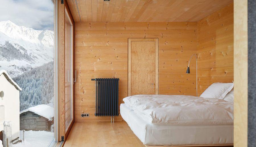 Modern bedroom in the swiss alps retreat