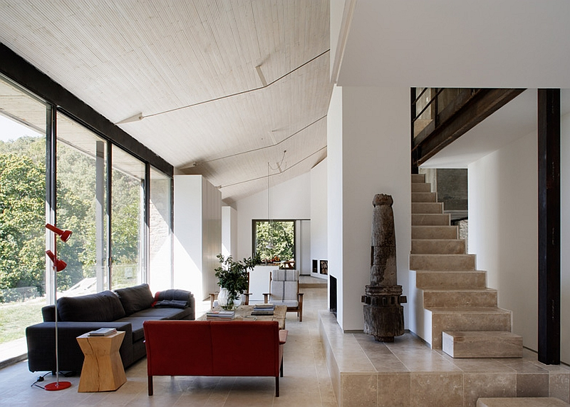 Modern interiors of the renovated countryside house