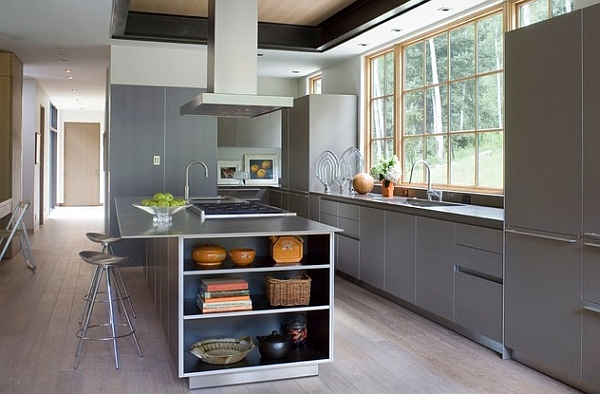 Modern kitchen with metallic surfaces