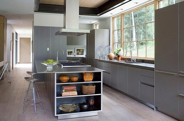 Modern kitchen with metallic surfaces