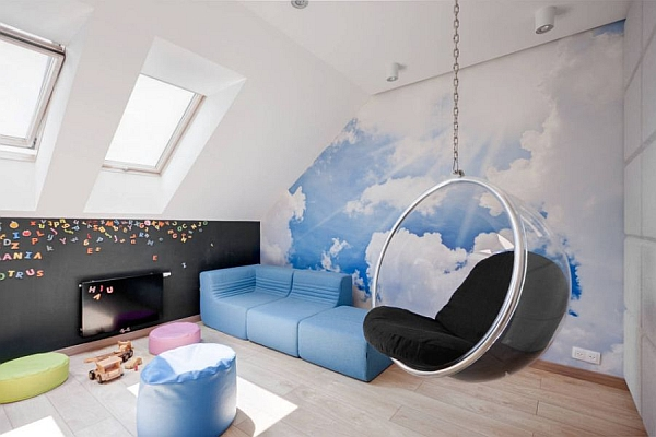 Modern playroom with the Bubble Chair