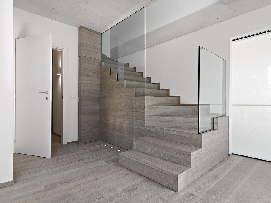 Modern staircase with glass railing