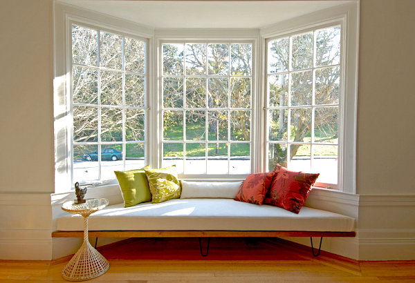 Modern window seat with colorful cushions