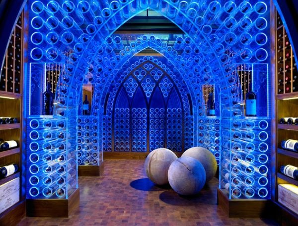 Modern wine cellar with blue LED lighting and acrylic