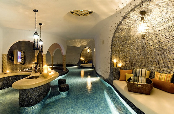 Moroccan-styled indoor pool with a bar!