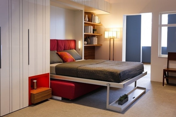 Murphy bed in a tiny apartment