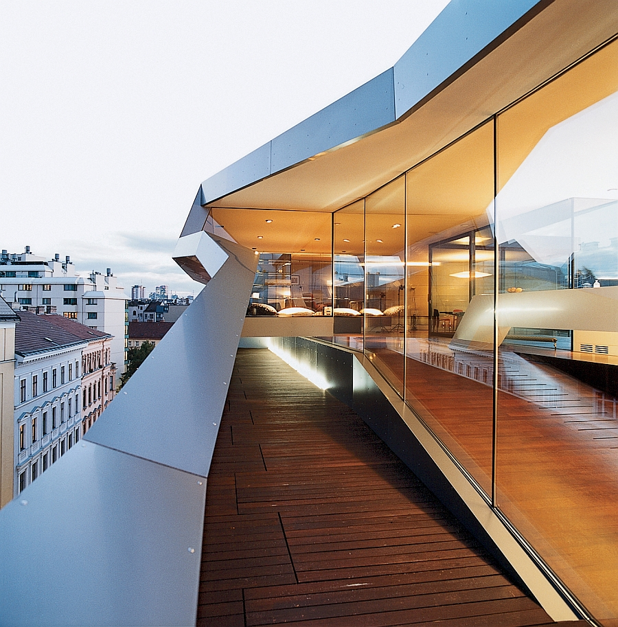 One of the three narrow terraces around the Vienna Penthouse