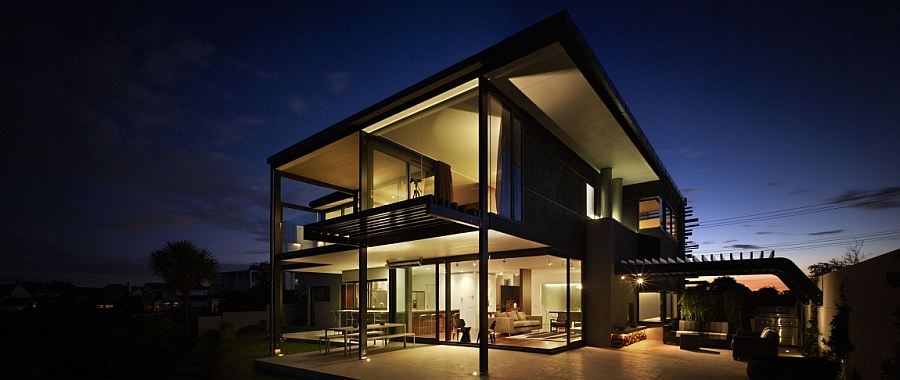 Open backyard of Auckland home with bay views