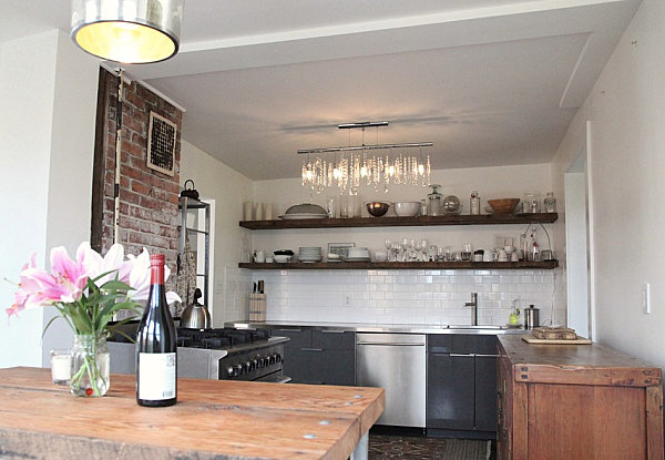 Open shelving in a stylish kitchen