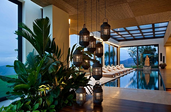 Oriental themed indoor pool space offers a serene and tranquil atmosphere