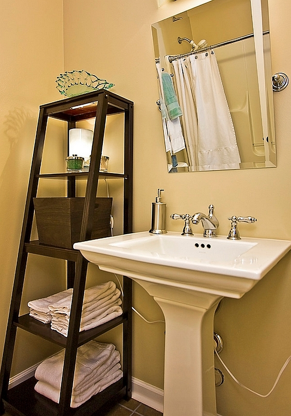 stepping it up in style 50 ladder shelves and display ideas rh decoist com powder room wall shelves styling powder room shelves