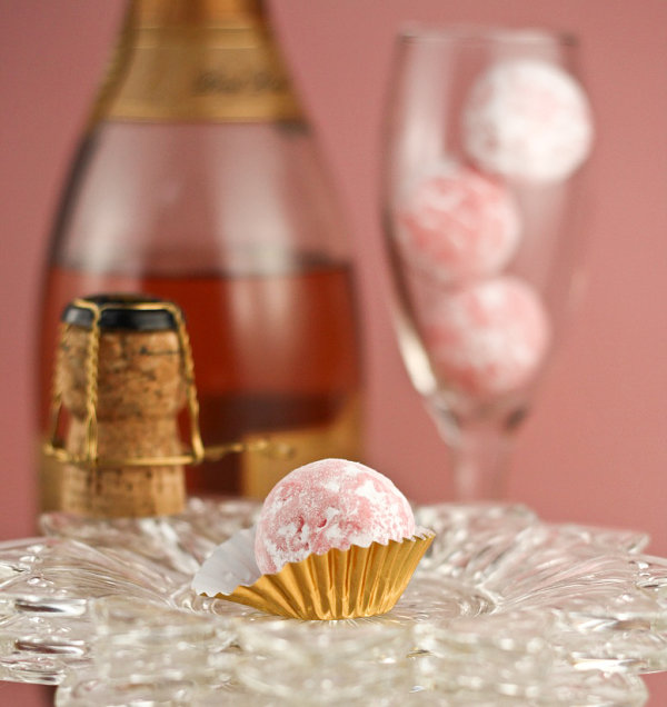 Pink champagne truffles