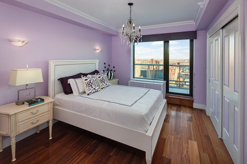 Plush bedroom in purple