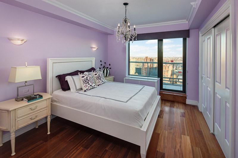 Plush bedroom in purple