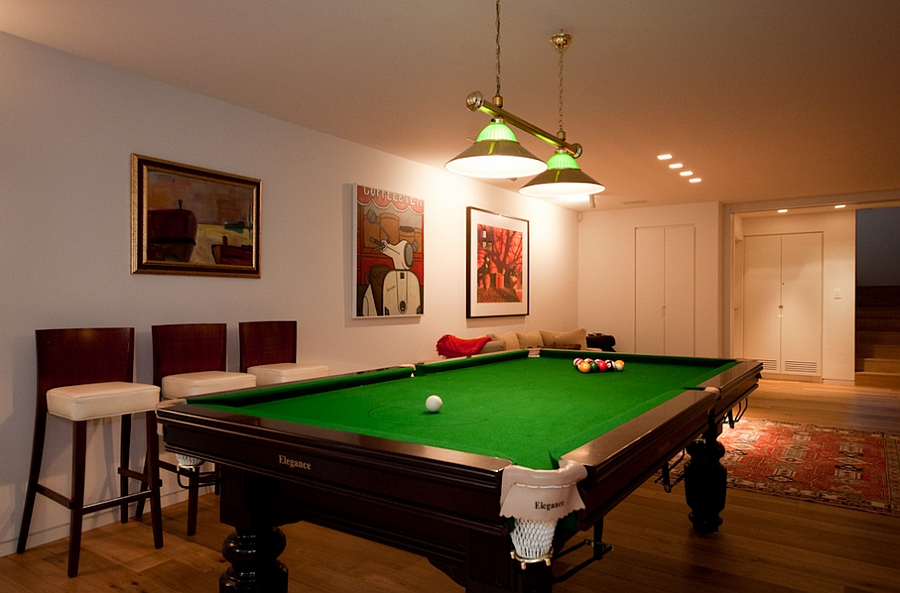 Pool table inside the house