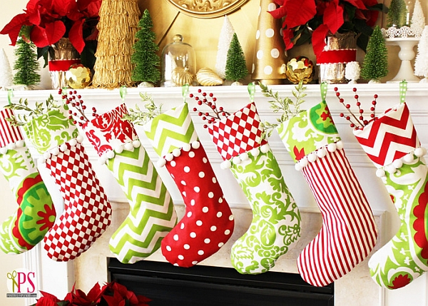 Red, Gold and Lime Christmas mantel decor idea