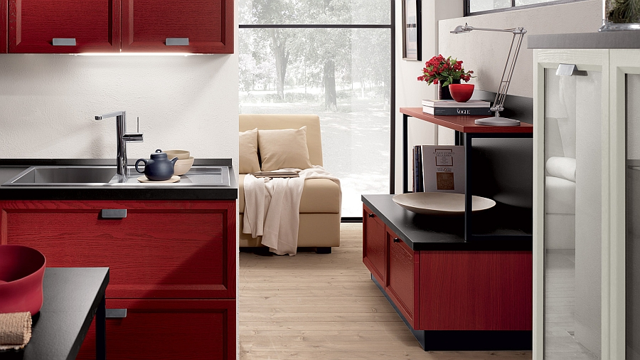 Red and white cabinets in the living room match the kitchen