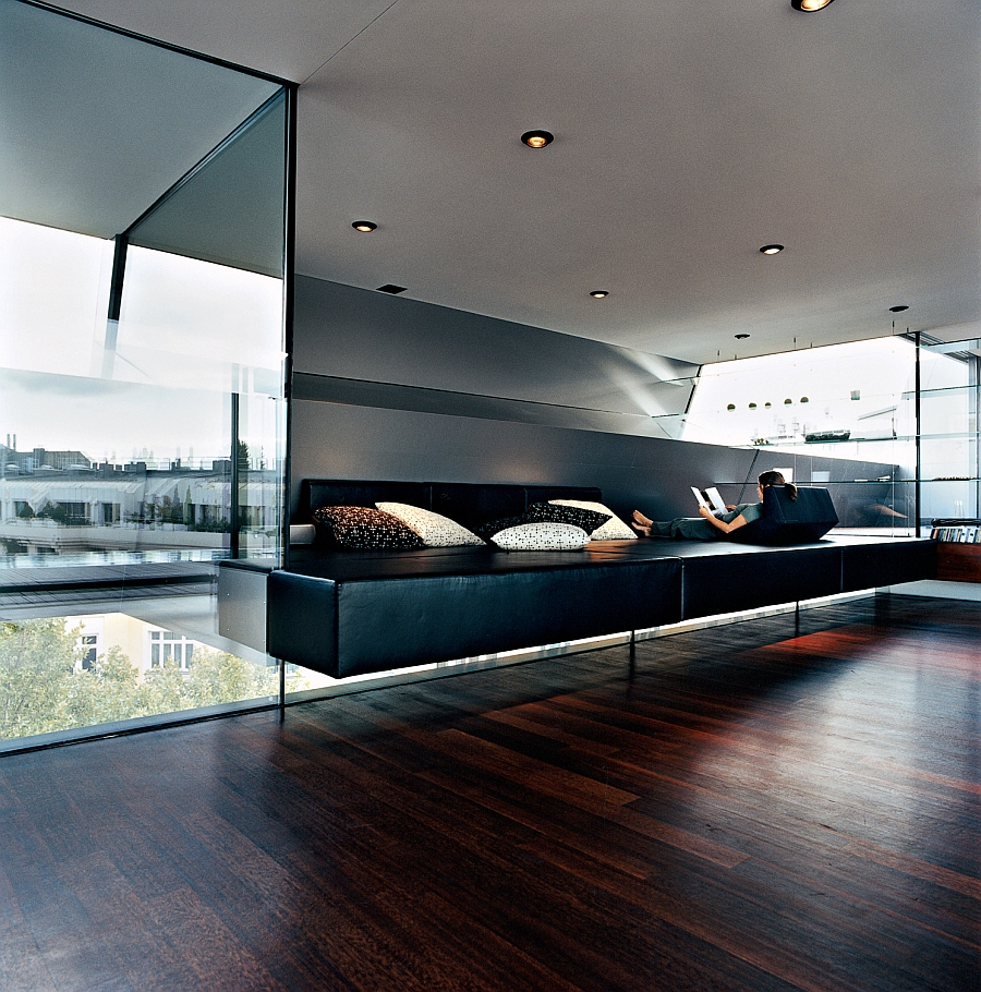 View in gallery relaxation zone covered in black leather