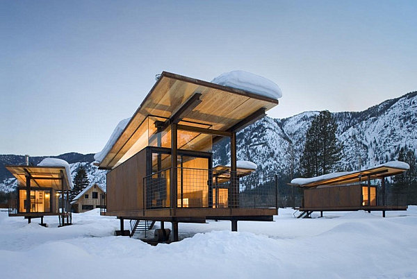Rolling huts in snowy Washington