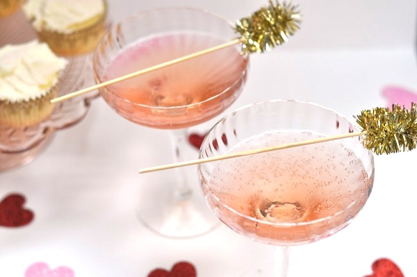 Rosewater and champagne cocktail
